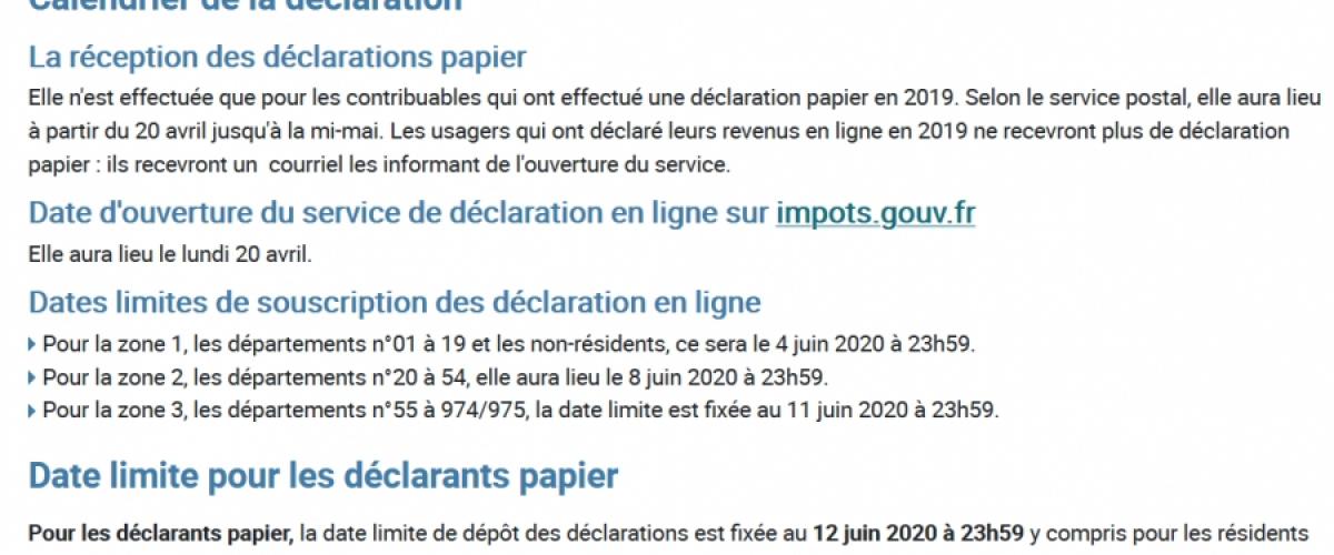 Calendrier fiscal 2020 spécial COVID